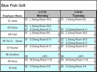 Restaurant Scheduler Template