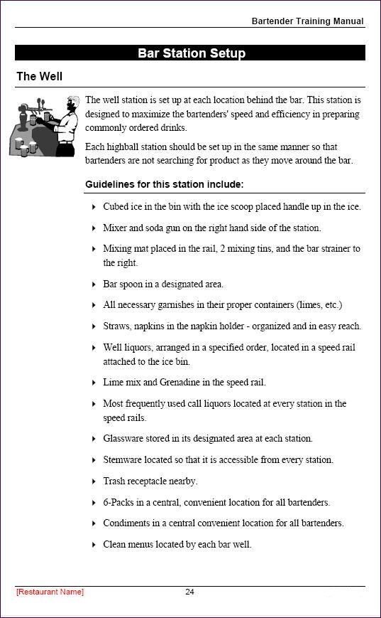 Great Restaurant Employee Training Manual   Sample Page Regard To Manual Templates