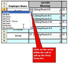 restaurant scheduling template